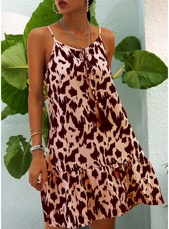 Leopard Shift Spaghetti Straps Sleeveless Midi Casual Sexy Vacation Type Dresses
