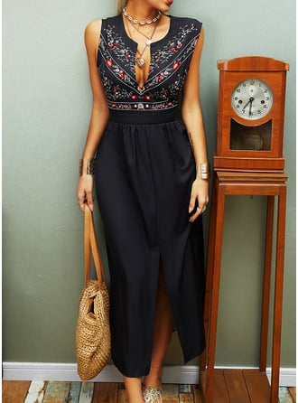 Floral Print A-line Round Neck Sleeveless Maxi Casual Vacation Skater Dresses