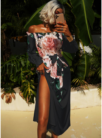 Off the Shoulder 3/4 Sleeves Maxi Dresses