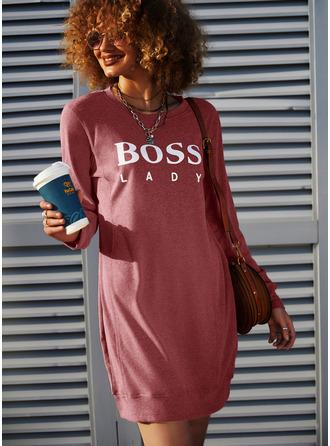 Print Shift Round Neck Long Sleeves Midi Casual Sweatshirt Dresses