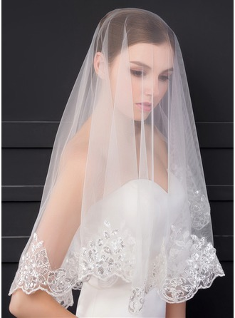 One-tier Lace Applique Edge Elbow Bridal Veils With Sequin/Lace