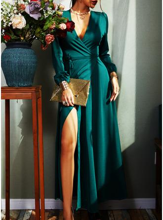 Solid A-line kjole V-hals Lange ermer Maxi Elegant Party skater Motekjoler