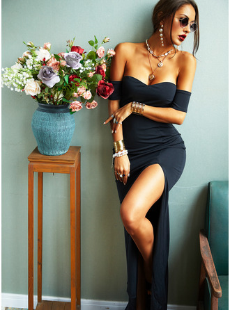 Solid Sheath Off the Shoulder Short Sleeves Maxi Little Black Party Sexy Dresses