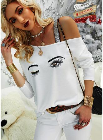 Regular Cotton Blends One Shoulder Print Sequins Fitted Blouses