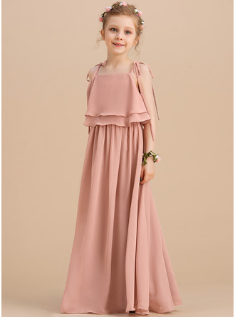 A-Line Floor-length Flower Girl Dress - Chiffon Sleeveless Square Neckline/Straps