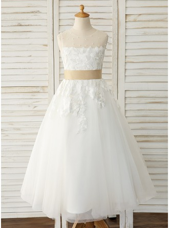 A-Line Ankle-length Flower Girl Dress - Tulle/Lace Sleeveless Scoop Neck With Sash (Detachable sash)
