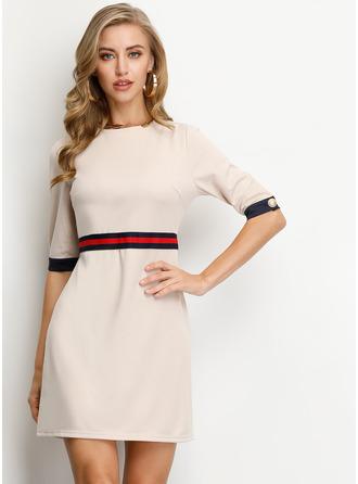Striped A-line Round Neck 1/2 Sleeves Midi Casual Elegant Skater Dresses