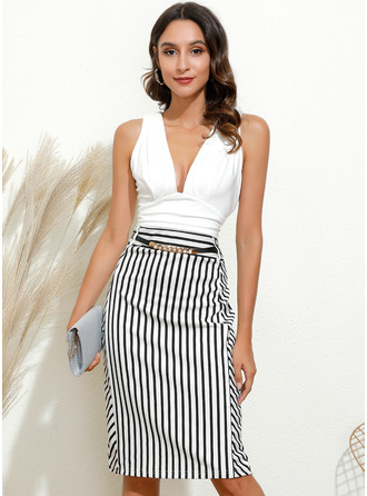 Stripe Bodycon V-hals Ermeløs Midi Elegant Party Motekjoler