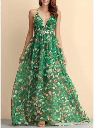 Floral Print Backless A-line V-Neck Sleeveless Maxi Boho Sexy Vacation Dresses