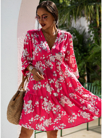 Floral Print Shift V-Neck 3/4 Sleeves Midi Casual Tunic Dresses