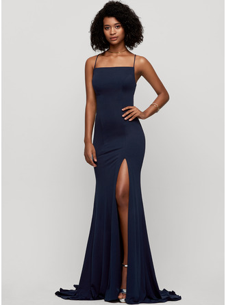Trumpet/Mermaid Square Neckline Sweep Train Jersey Prom Dresses With Split Front