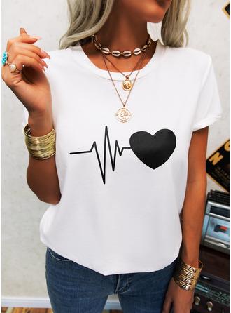 Regular Cotton Blends Round Neck Print Heart 3XL L S M XL XXL Blouses