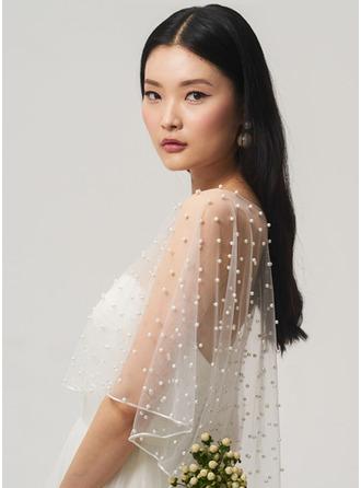 One-tier Cut Edge Elbow Bridal Veils/Fingertip Bridal Veils/Waltz Bridal Veils With Faux Pearl