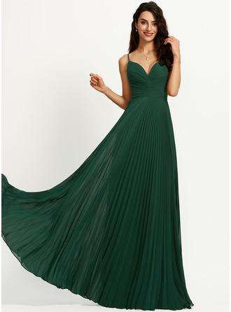 A-Line V-neck Floor-Length Bridesmaid Dress With Pleated