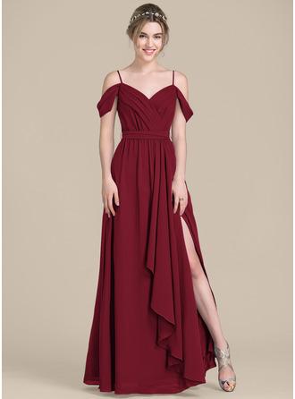 V-neck Floor-Length Chiffon Bridesmaid Dress With Bow(s) Split Front Cascading Ruffles