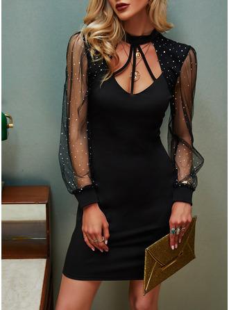 Sequins Solid Bodycon Long Sleeves Midi Elegant Little Black Dresses