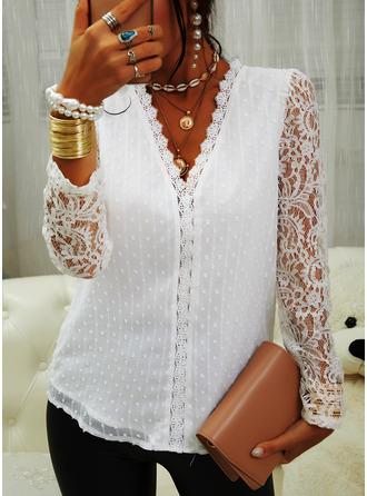 Regular Cotton Blends V-Neck Lace Solid Fitted Blouses