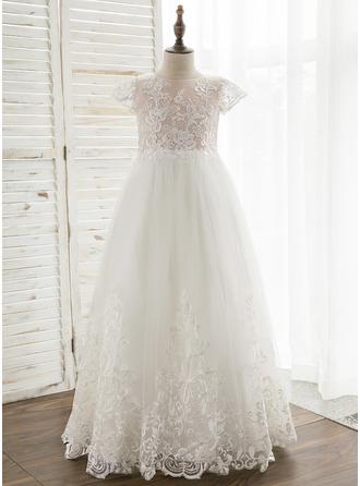 A-Line Floor-length Flower Girl Dress - Tulle/Lace Short Sleeves Scoop Neck