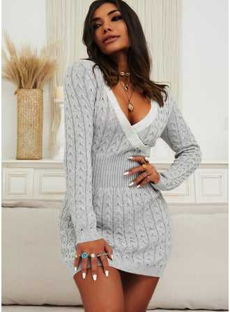 Solid Cable-knit V-Neck Long Sleeves Casual Long Sweater Dress Dresses