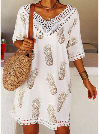 Print V-Neck 3/4 Sleeves Midi Dresses