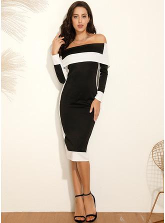 Color Block Off the Shoulder Long Sleeves Midi Dresses