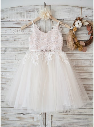 A-Line Knee-length Flower Girl Dress - Tulle/Lace Sleeveless Straps