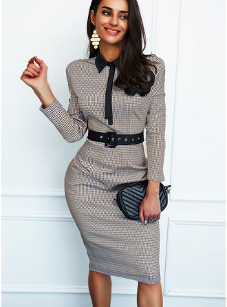 Print Bodycon Shirt collar Long Sleeves Midi Elegant Pencil Dresses