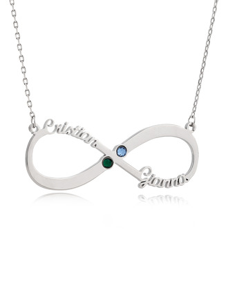 Custom Silver Two Infinity Name Necklace With Birthstone - Birthday Gifts Mother's Day Gifts