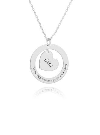 Personlig sølv Gravering / Inngravert Circle Necklace med Hjerte - Bursdagsgaver Morsdag Gaver