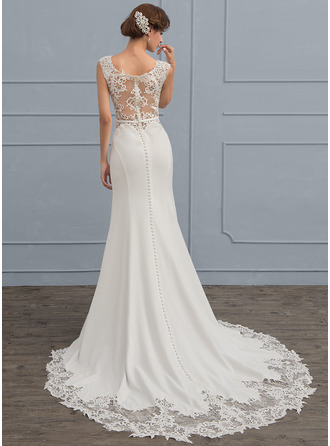 Trumpet/Mermaid Court Train Stretch Crepe Wedding Dress