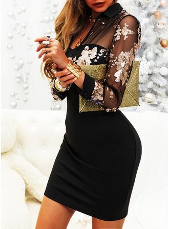 Floral Print Bodycon Shirt collar Long Sleeves Midi Elegant Dresses