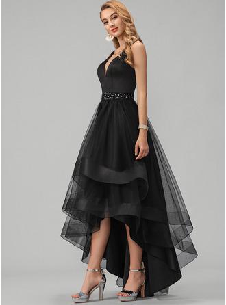 Black V-Neck Sleeveless A-line Dresses
