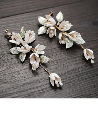 Ladies' Beautiful Jadeite/Copper/Iron Earrings