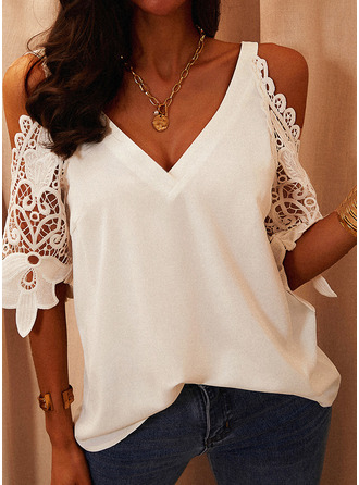 Regular Polyester Cold Shoulder Lace Solid 3XL L S M XL XXL Blouses