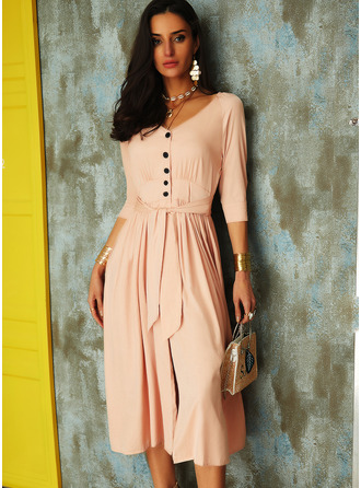 Solid A-line V-Neck 3/4 Sleeves Puff Sleeves Midi Casual Vacation Skater Dresses
