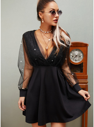 Sequins Solid A-line V-Neck Long Sleeves Midi Little Black Party Skater Dresses