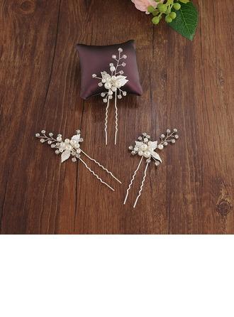 Vakkert Legering Hårnåler med Venetianske Perle (Sett med 3)