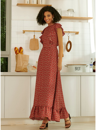 Round Neck Short Sleeves Midi Dresses
