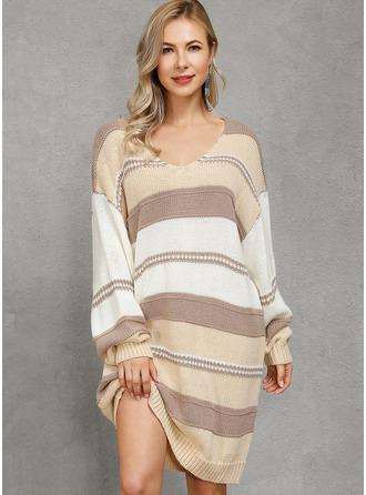 Color Block One Shoulder Long Sleeves Casual Dresses