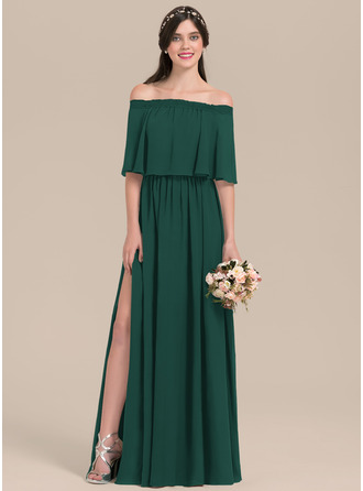 Off-the-Shoulder Floor-Length Chiffon Bridesmaid Dress With Split Front