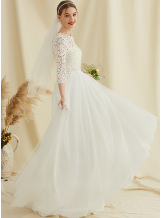 A-Line Scoop Neck Sweep Train Tulle Lace Wedding Dress