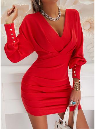 Solid Bodycon V-Neck Long Sleeves Lantern Sleeve Midi Elegant Party Dresses