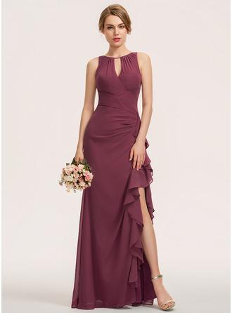 Scoop Neck Floor-Length Chiffon Bridesmaid Dress With Split Front Cascading Ruffles