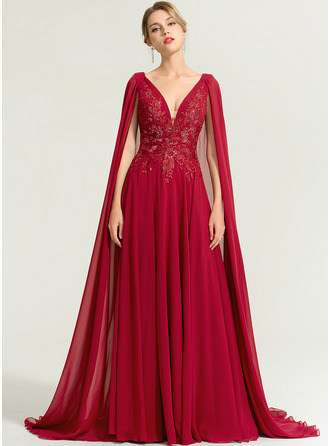 A-Line V-neck Floor-Length Chiffon Evening Dress With Sequins