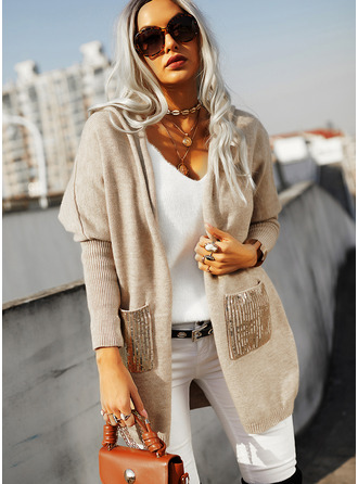 Hooded Long Sleeves Solid Pocket Casual Cardigans