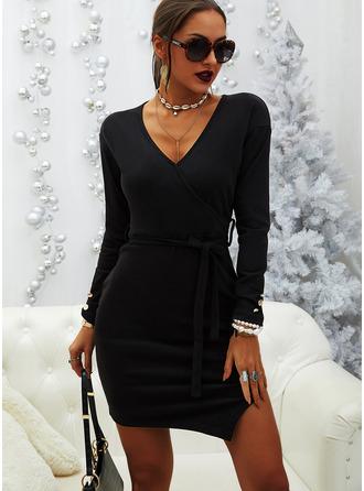 Solid Bodycon V-Neck Long Sleeves Midi Casual Elegant Little Black Dresses