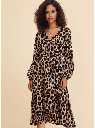 Leopard A-line V-Neck Long Sleeves Midi Casual Skater Wrap Dresses