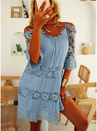 Lace Solid Shift Spaghetti Straps 3/4 Sleeves Cold Shoulder Sleeve Midi Casual Vacation Tunic Dresses