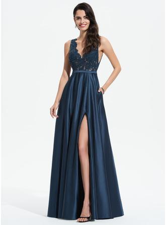 A-Line V-neck Floor-Length Satin Prom Dresses With Lace Sequins Split Front Pockets