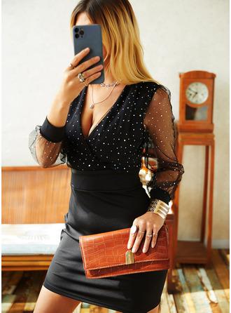 Sequins Solid Bodycon V-Neck Long Sleeves Midi Elegant Little Black Party Dresses